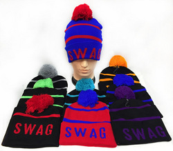 Case of [24] Unisex Knitted Pompom Swag Hats