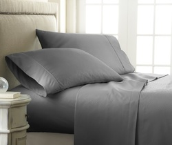 Case of [12] Soft Essentials Premium Embossed Checker Design 3 Piece Bed Sheet Set (Twin - Gray)