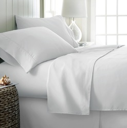 Case of [12] Queen Premium Double Brushed 4 Piece Sheet Set - White