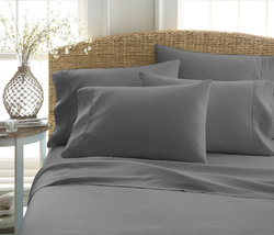 Case of [12] Full Premium Double Brushed 6 Piece Sheet Set - Gray