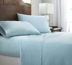 Case of [12] Queen Premium Embossed Chevron 4 Piece Sheet Set - Aqua