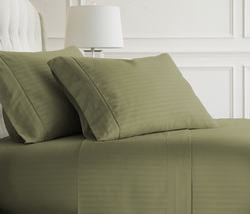Case of [12] Queen Premium Embossed Striped 4 Piece Sheet Set - Sage