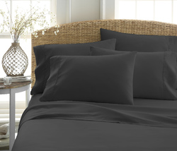 Case of [12] Queen Premium Double Brushed 6 Piece Sheet Set - Black