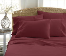 Case of [12] Queen Premium Double Brushed 6 Piece Sheet Set - Burgundy