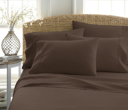 Case of [12] Queen Premium Double Brushed 6 Piece Sheet Set - Chocolate