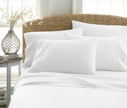 Case of [12] Queen Premium Double Brushed 6 Piece Sheet Set - White