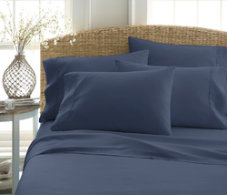 Case of [12] Soft Essentials Premium Double Brushed 6 Piece Sheet Set (California King - Navy)