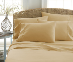 Case of [12] Queen Premium Double Brushed 6 Piece Sheet Set - Gold