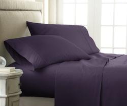 Case of [12] California King Premium Embossed Checker 4 Piece Sheet Set - Purple
