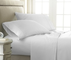 Case of [12] Queen Premium Embossed Checker 4 Piece Sheet Set - White