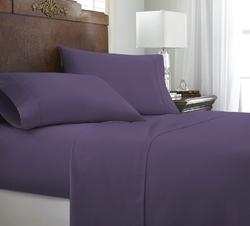 Case of [12] Queen Premium Embossed Chevron 4 Piece Sheet Set - Purple