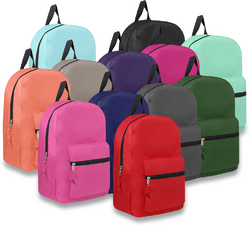 """Case of [24] 15"""" Basic Backpack - 12 Assorted Colors"""