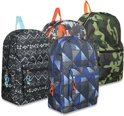 "Case of [24] 17"" Boy's Basic Backpacks - 4 Assorted Printed"