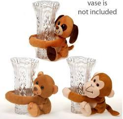 """Case of [36] 6"""" Sitting Vase Hugger Plush Dog - Assorted Styles"""