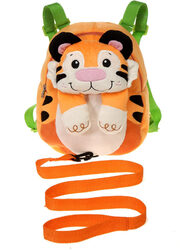 "Case of [12] 10"" Travel Buddies Tiger Plush Backpack with Harness"