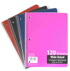 Case of [36] 3 Subject Notebook Wide Ruled - 120 Page