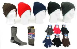 Category: Dropship Apparel, SKU #2124649, Title: Case of [180] Adult Knit Hat, Magic Gloves & Men's Wool Socks Combo