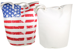 Category: Dropship Travel & Bags, SKU #2126557, Title: Case of [20] Worthy Stars and Stripes Jumbo Bucket Canvas Tote