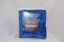 "Case of [12] Oversized Deluxe Mink Blanket 60"" x 72"" - Royal Blue"