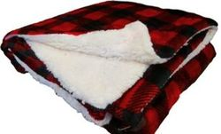 "Case of [12] Micro Mink/Sherpa Blanket 50"" x 60""- Red Buffalo"
