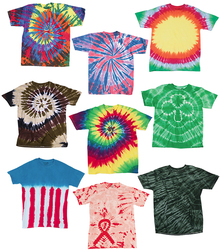 Case of [12] Adult Slightly Irregular Tie Dye T-Shirts - Assort - Size Small