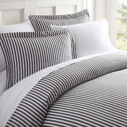 Case of [12] Twin Ribbon Pattern 3 Piece Duvet Cover Set - Gray