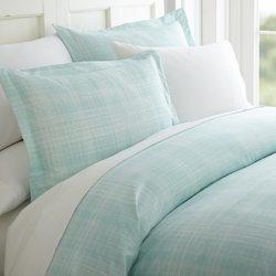 Case of [12] Soft Essential Premium Ultra Soft Thatch Pattern 3 Piece Duvet Cover Set - Aqua - Queen