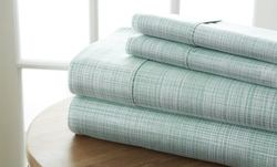 Case of [12] Soft Essential Premium Ultra Soft Thatch Pattern 4 Piece Bed Sheet Set - Forest - Twin