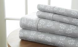 Case of [12] Queen Premium Wheat Pattern 4 Piece Bed Sheet Set - Gray