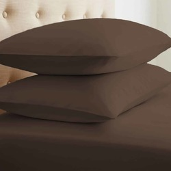 Case of [24] Standard Double-Brushed Microfiber 2 Piece Pillow Case Set - Chocolate