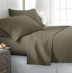 Case of [12] Soft Essentials Double-Brushed Microfiber 4 Piece Bed Sheet Set - Taupe - Twin