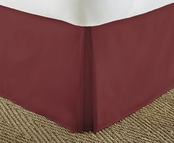 Case of [12] Soft Essentials Premium Pleated Bed Skirt Dust Ruffle - Burgundy - Twin