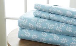 Case of [12] Full Premium Wheat Pattern 4 Piece Bed Sheet Set - Pale Blue