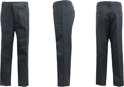 Case of [24] Boys Gray Double Knee Flat Front Pants - Size 18