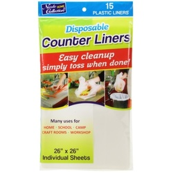 """Case of [48] 26"""" X 26"""" Disposable Plastic Counter Liners - Transparent - Nicole Home Collection"""
