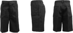 Case of [24] Boys Black Flat Front Shorts - Size 20