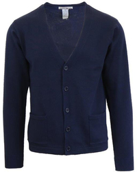 Case of [24] Children's Navy V-Neck Cardigan Sweater - Sizes 4-7