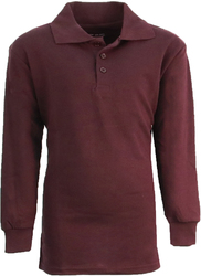 Case of [36] Boy's Burgundy Long Sleeve Pique Polo Shirts - Sizes 8-14