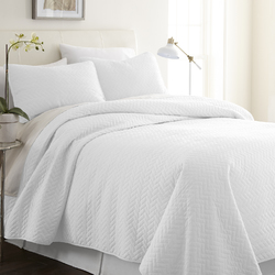 Case of [9] Twin Premium Herring Pattern Quilted Coverlet Set - White