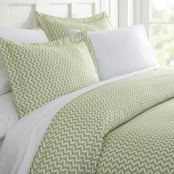 Case of [16] Twin Premium 4 Piece Puffed Chevron Bed Sheet Set - Sage