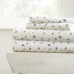 Case of [16] Twin Premium 4 Piece Soft Floral Bed Sheet Set - Light Blue