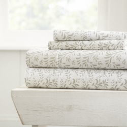Case of [16] Twin4 Piece Burst of Vine Print Bed Sheet Set - Light Gray