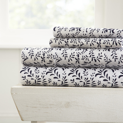 Case of [16] Twin4 Piece Burst of Vine Print Bed Sheet Set - Navy