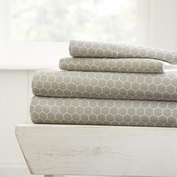 Case of [16] Soft Essentials? Ultra Soft 4 Piece Honey Comb Bed Sheet Set - King - Light Gray