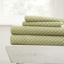 Case of [16] Soft Essentials? Ultra Soft 4 Piece Scallops Print Bed Sheet Set - King - Sage