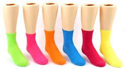 Case of [24] Kid's Novelty Crew Socks - Solid Neon Colors - Size 4-6