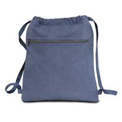 """Case of [48] 14"""" Classic Dyed Canvas Drawstring Backpack - Blue Jean"""