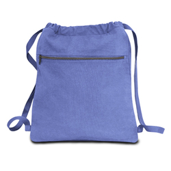 "Case of [48] 14"" Classic Dyed Canvas Drawstring Backpack - Periwinkle"