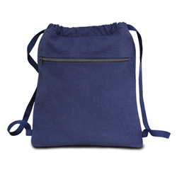 "Case of [48] 14"" Classic Dyed Canvas Drawstring Backpack - Washed Navy"