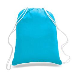 "Case of [216] 18"" Economy Turquoise Drawstring Backpack - Canvas"